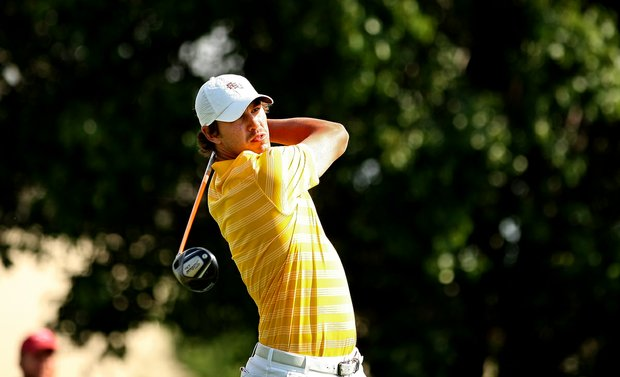 Brooks Koepka of Florida State University hits his tee shot on Friday at the Southwest Regional Championship at Jimmie Austin Golf Club in Norman, Oklahoma.