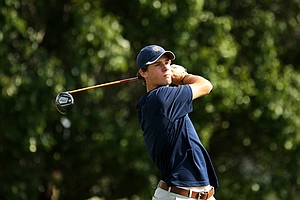 Thomas Pieters of Illinois hits his tee shot on Friday at the Southwest Regional Championship at Jimmie Austin Golf Club in Norman, Oklahoma. He is in first place after Round 2.