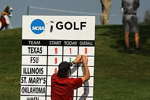 Texas and Florida State University lead the field on Friday at the NCAA Southwest Regional Championship at Jimmie Austin Golf Club in Norman, Oklahoma.
