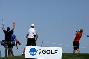 Teams tee off at No. 10 on Friday at the NCAA Southwest Regional Championship at Jimmie Austin Golf Club in Norman, Oklahoma.--(Photo by Tracy Wilcox/GOLFWEEK)