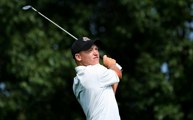 Michael Davan of IUPUI on Friday at the Southwest Regional Championship at Jimmie Austin Golf Club in Norman, Oklahoma.