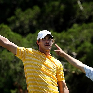FSU's Brooks Koepka signals his ball right at No. 18 on Friday at the Southwest Regional Championship at Jimmie Austin Golf Club in Norman, Oklahoma.