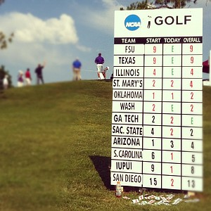 University of Texas and Florida State University lead the field at the Southwest Regional Championship at Jimmie Austin Golf Club in Norman, Oklahoma.
