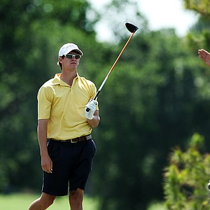 Georgia Tech's James White watches as his ball sails right at No. 10 during the final round of the Southwest Regional Championship at Jimmie Austin Golf Club in Norman, Oklahoma.