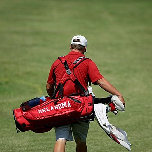 Oklahoma's Michael Gellerman makes his way down the 10th fairway during the final round of the Southwest Regional Championship at Jimmie Austin Golf Club in Norman, Oklahoma.