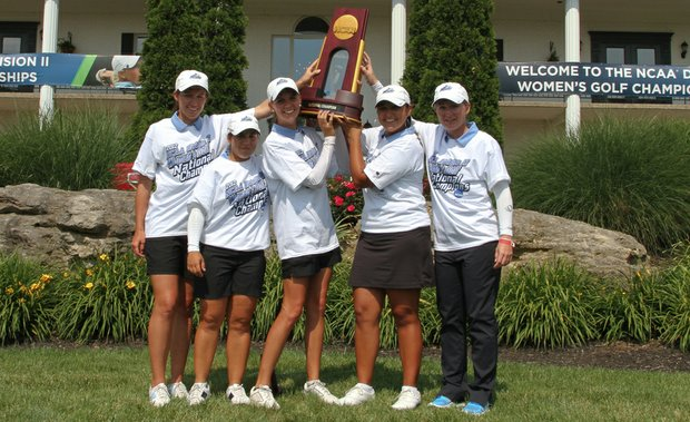 The Nova Southeastern women after winning a fourth consecutive NCAA Division II National Championship.