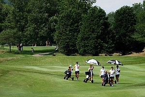 Pepperdine make their way down the 9th fairway during the practice round at the 2012 NCAA Division I Women's Golf Championships at Vanderbilt Legends Club North Course in Franklin, Tenn.