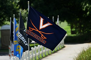 Team flags at the 2012 NCAA Division I Women's Golf Championships at Vanderbilt Legends Club North Course in Franklin, Tenn.