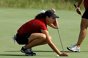 Arkansas' Emily Tubert on the practice green on Tuesday at the 2012 NCAA Division I Women's Golf Championships at Vanderbilt Legends Club North Course in Franklin, Tenn.