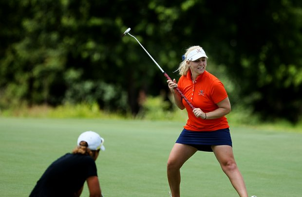 Virginia's Portland Rosen reacts to her birdie at No. 18 to post a 66 on Tuesday at the 2012 NCAA Division I Women's Golf Championships at Vanderbilt Legends Club North Course in Franklin, Tenn.