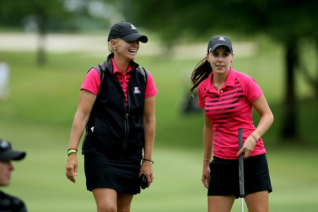 Arizona head coach Laura Ianello, left, with her player Margarita Ramos on Tuesday at the 2012 NCAA Division I Women's Golf Championships.