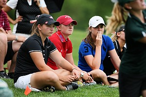 LPGA player and Arkansas alum, Stacy Lewis, watches her team on Tuesday at the 2012 NCAA Division I Women's Golf Championships at Vanderbilt Legends Club North Course in Franklin, Tenn.