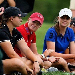 LPGA player and Arkansas alum, Stacy Lewis watched her former team on Tuesday at the 2012 NCAA Division I Women's Golf Championships at Vanderbilt Legends Club North Course in Franklin, Tenn.