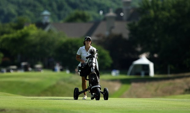 Vanderbilt's Marina Alex walks up No. 10 on Tuesday at the 2012 NCAA Division I Women's Golf Championships.