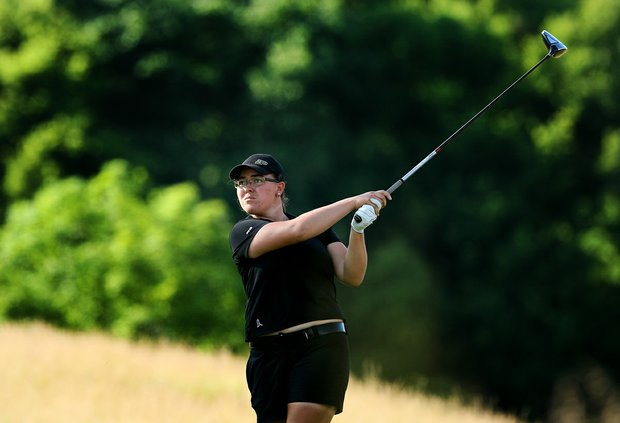 Purdue's Laura Gonzalez on Tuesday at the 2012 NCAA Division I Women's Golf Championships. Gonzalez is in second place with a 67 after Round 1.
