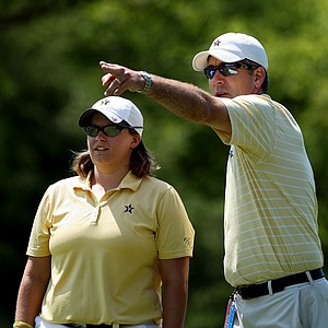 Vanderbilt head coach, Greg Allen, right, talks with his player, Lauren Stratton at No. 17 on Wednesday at the 2012 NCAA Division I Women's Golf Championships.
