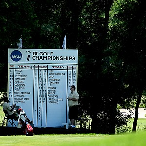 An on course leaderboard on Wednesday at the 2012 NCAA Division I Women's Golf Championships.