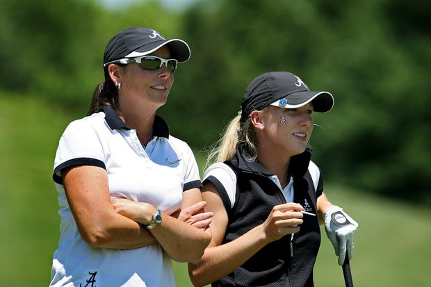 Alabama's Brooke Pancake with assistant coach Susan Rosenstiel on Wednesday at the 2012 NCAA Division I Women's Golf Championships.