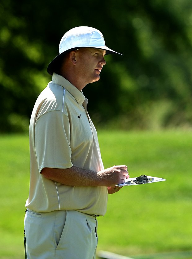 Whit Turnbow, head coach of Middle Tennessee State University, volunteered as a walking scorer on Wednesday at the 2012 NCAA Division I Women's Golf Championships.