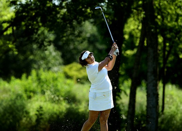 Duke's Alejandra Cangrejo at No. 17 on Wednesday at the 2012 NCAA Division I Women's Golf Championships.