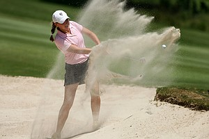 Emily Talley of Colorado hits out of a bunker at No. 15 on Thursday at the 2012 NCAA Division I Women's Golf Championships.