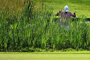 Arizona State's Daniela Ordonez looks for her ball on Thursday at the 2012 NCAA Division I Women's Golf Championships.