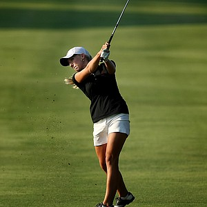 Alabama's Brooke Pancake hits a shot at No. 18 on Thursday at the 2012 NCAA Division I Women's Golf Championships.
