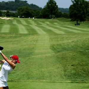 Alabama's Brooke Pancake hits her first tee shot of the day during the final round of the 2012 NCAA Division I Women's Golf Championships.