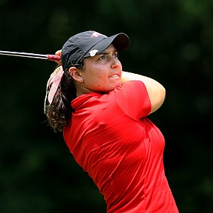 Emily Tubert hits her tee shot at No. 16 during the final round of the 2012 NCAA Division I Women's Golf Championships.