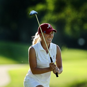 Alabama's Brooke Pancake nearly sank her birdie putt at No. 18 during the final round of the 2012 NCAA Division I Women's Golf Championships. She needed par for her team to win.