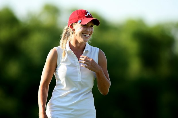 Brooke Pancake is all smiles at No. 18 after sinking the par putt to secure a victory at the 2012 NCAA Division I Women's Golf Championships. Alabama beat USC by one stroke.