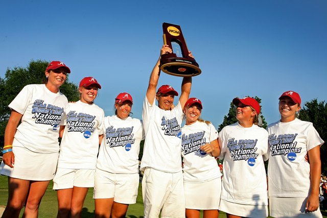 Alabama claims its first women's golf national championship at Vanderbilt Legends Club's North Course in Franklin, Tenn.