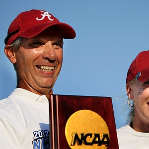 Alabama head coach, Mic Potter and Brooke Pancake celebrate after winning the 2012 NCAA Division I Women's Golf Championships at Vanderbilt Legends Club.