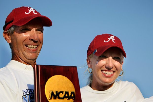 Alabama head coach, Mic Potter and Brooke Pancake celebrate after winning the 2012 NCAA Division I Women's Golf Championships at Vanderbilt Legends Club.