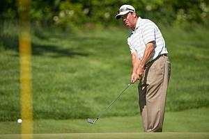 Wayne Defrancesco on 13 during the second round of play at the 73rd Senior PGA Championship, presented by KitchenAid held at Harbor Shores in Benton Harbor, Michigan, USA, on Friday, May 25, 2012.