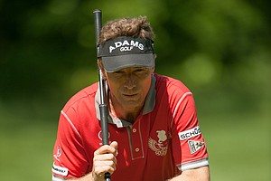 Bernhard Langer, reading his putt on 12 during the second round of play at the 73rd Senior PGA Championship, presented by KitchenAid held at Harbor Shores in Benton Harbor, Michigan, USA, on Friday, May 25, 2012.