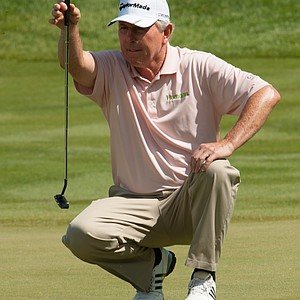 Hale Irwin reads his putt on 18 during the second round of play at the 73rd Senior PGA Championship, presented by KitchenAid held at Harbor Shores in Benton Harbor, Michigan, USA, on Friday, May 25, 2012.