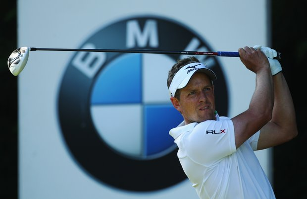 Luke Donald hits his tee shot on the 18th hole during the third round of the BMW PGA Championship on the West Course at Wentworth.
