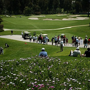 A view of No. 2 green, left, and No. 10 tee and green, center, during the 2012 NCAA Championship at Riviera Country Club in Pacific Palisades, Calif.