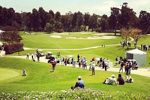 View of the second green, 10th hole and 10th tee during the 2012 NCAA Championship at Riviera Country Club in Pacific Palisades, Calif.
