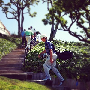 Stairs from No. 18 to the clubhouse at the 2012 NCAA Championship at Riviera Country Club.