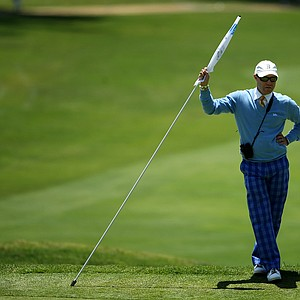 UCLA head coach, Derek Freeman, during the 2012 NCAA Championship. UCLA finished their round in second place.
