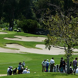 Spectators can sit on a hill behind nine green and watch 10 green as well during the 2012 NCAA Championship at Riviera Country Club.