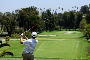 Kyle Wilshire of UCF tees off at No. 1 during the 2012 NCAA Championship at Riviera Country Club in Pacific Palisades, Calif.