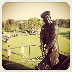 "Statue of Ben Hogan at Riviera Country Club. Riviera was dubbed ""Hogan's Alley"" after he won the 1947, 1948 L. A. Open and the 1948 U. S. Open."