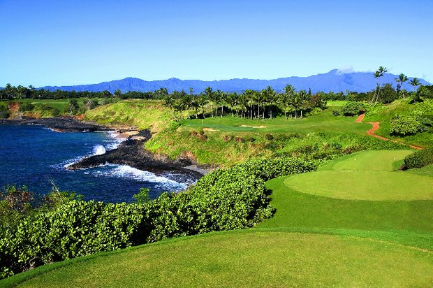 The par-3 14th at Kauai Lagoons.
