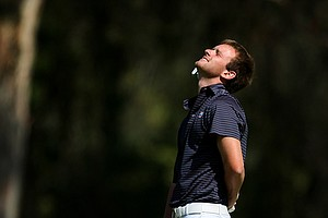 Florida's Tyler McCumber reacts to missing a birdie put at No. 3 during the final round of stroke play.