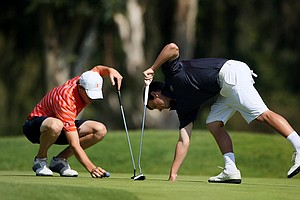 Thomas Pieters of Illinois, left, and Tyler McCumber of Florida, right, at No. 3 during the final round of stroke play at the 2012 NCAA Championship. Pieters finished as the individual medalist and McCumber was T2.