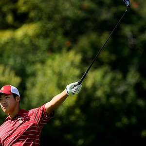 Jeffrey Kang of USC signals his ball left at No. 4 during the final round of stroke play at the 2012 NCAA Championship. USC did not advance to match play.