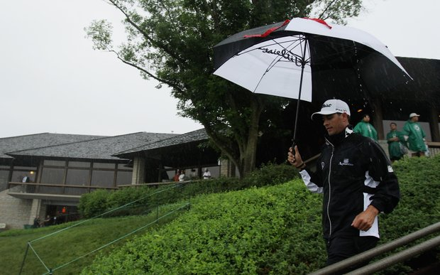 Adam Scott of Australia walks to the golf course during the second round of the Memorial Tournament presented by Nationwide Insurance at Muirfield Village Golf Club on June1, 2012 in Dublin, Ohio.
